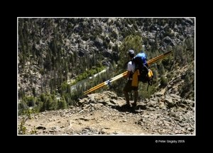 Hiking into the Forks of the Kern with oars