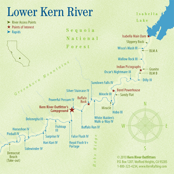 Kern River Map lower kern map | Kern River Outfitters